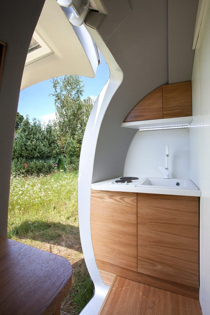 Kitchen area inside the futuristic pod.